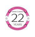 realistic twenty two years anniversary celebration vector image vector image