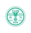 Running Club Green Label Design vector image vector image