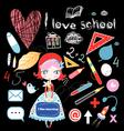schoolgirl and various school sites vector image vector image