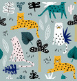 seamless pattern with leopards palm branch and vector image vector image