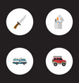 set of camping icons flat style symbols with vector image