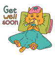 sickening cat with thermometer under the blanket vector image
