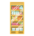 supermarket fridge with diary products and glass vector image