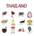 Thailand flat icons set vector image