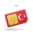 Turkey mobile phone sim card with flag vector image vector image