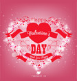 valentines day with red ribbon and heart on a pink vector image