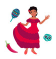 young mexican women dancing with traditional vector image