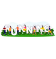 young people running in park wearing sport clothes vector image vector image