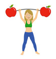 young woman exercising dumbbell bar with apples vector image vector image