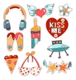 Set of quirky cartoon patch badges vector image