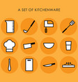 a set of kitchenware vector image