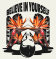 believe in yourself hand drawn placard with vector image