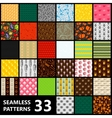 big set of 33 seamless patterns Food and drinks vector image vector image