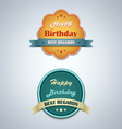 Birthday labels vintage retro design style vector image vector image