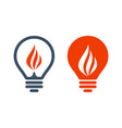 bulb icons with flame sign vector image vector image