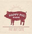 butcher pig poster vintage bbq pork logo farm vector image
