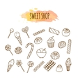 candy shop elements sweets and candies sketch vector image