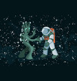 cartoon alien meeting and handshake in space on vector image vector image