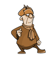cartoon character guy in a fur hat and scarf vector image vector image