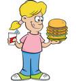 cartoon girl holding a large hamburger and a drink vector image vector image