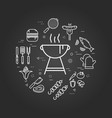 charcoal grill on black vector image vector image