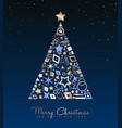 christmas and new year copper tree decoration card vector image vector image