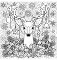christmas deer on doodle seamless background vector image vector image