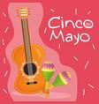 cinco de mayo celebration with guitar and maracas vector image
