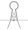 continuous line man in keyhole business concept vector image vector image