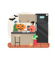 couple prepare pumpkin for halloween party at home vector image vector image