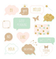 cute speech bubbles with hand written words girly