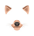dog animal face filter template video chat photo vector image vector image