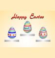 easter egg three pattern paint color on yellow vector image