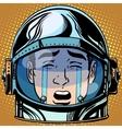 emoticon tears roar Emoji face man astronaut retro vector image vector image