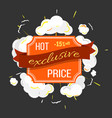 exclusive hot price label with explosion vector image