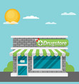 facade of pharmacy store flat vector image vector image