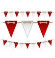 festive red and white flags on white background vector image