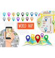 flat global positioning system composition vector image vector image
