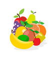fresh juicy fruit and berries in flat style vector image