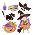 halloween characters hand drawn cartoon clip art vector image