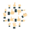 hand icons set flat ctyle vector image