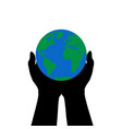 hands hold earth earth hour vector image