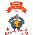 happy thanksgiving day vertical banner cartoon vector image vector image