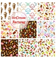 Ice cream desserts seamless patterns set vector image vector image