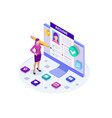 isometric woman and cv resume documents vector image vector image