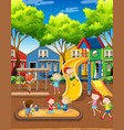 kids playing on playground vector image vector image