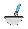 kitchen bowl with hand mixer utensil equipment for vector image