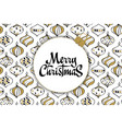 merry christmas card with christmas toys white vector image
