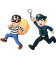 policeman tries to chase a thief vector image