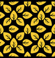 seamless foliage pattern golden leaf on black vector image